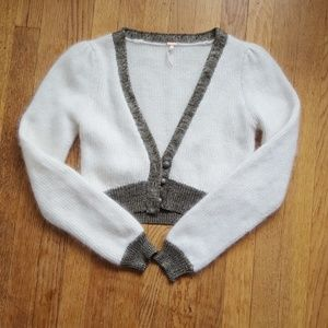 Free People Angora cream and gold cardigan sweater